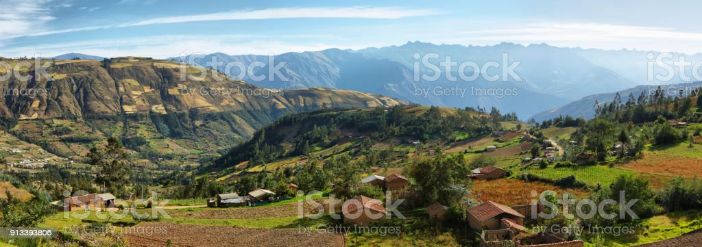 Views of houses and terraced fields in Ancash province, Peru stock photo