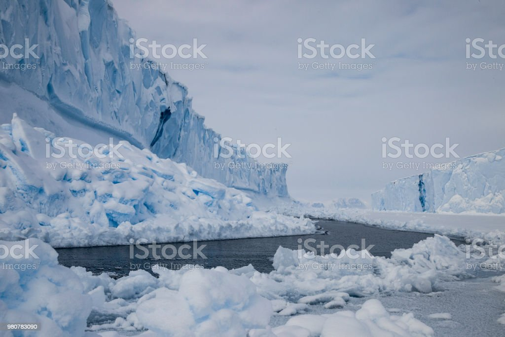 Views of icebergs of Baffin Island, Canada stock photo