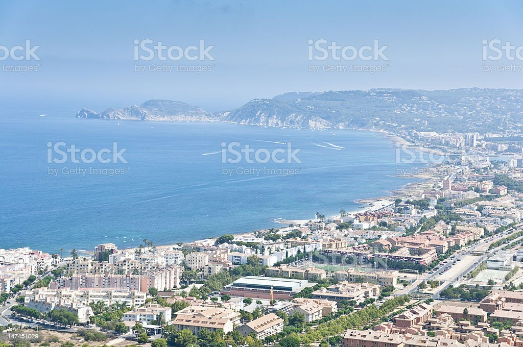 Views of Javea town from Montgo Massif stock photo