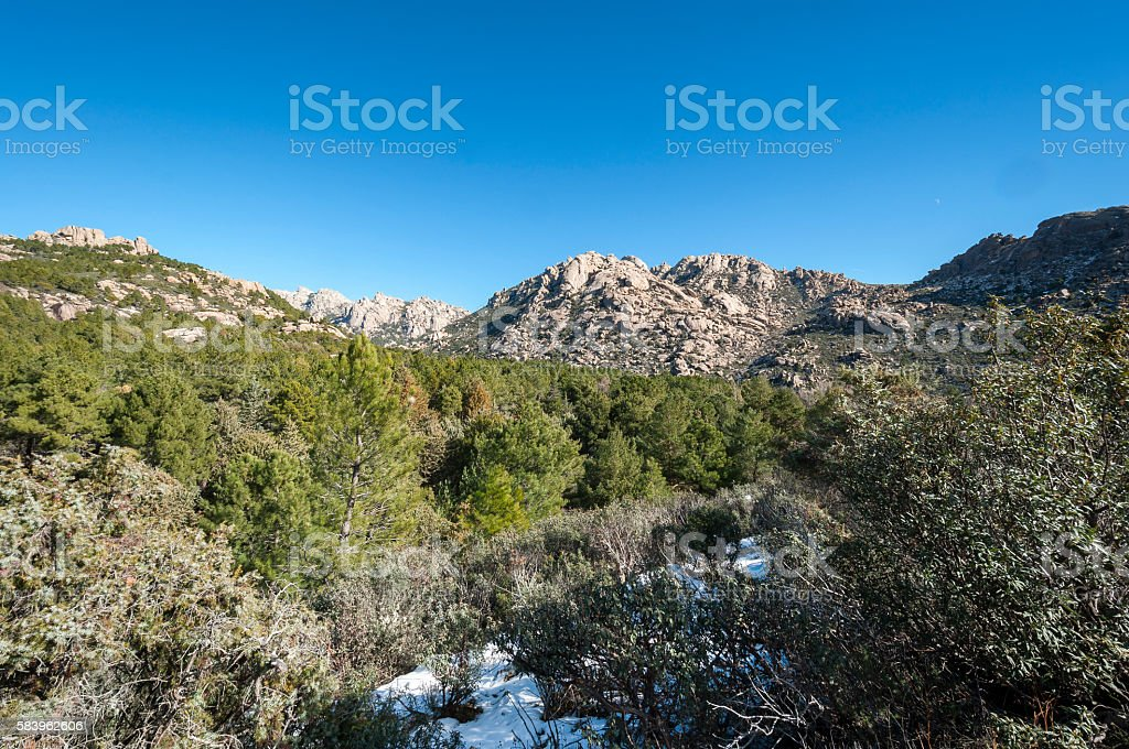 Views of La Pedriza  in Guadarrama Mountains National Park stock photo