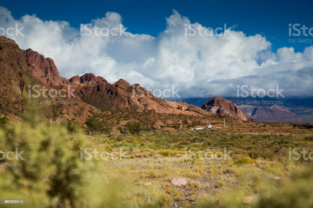 Views of landscape near RN7, Patagonia, Argentina stock photo