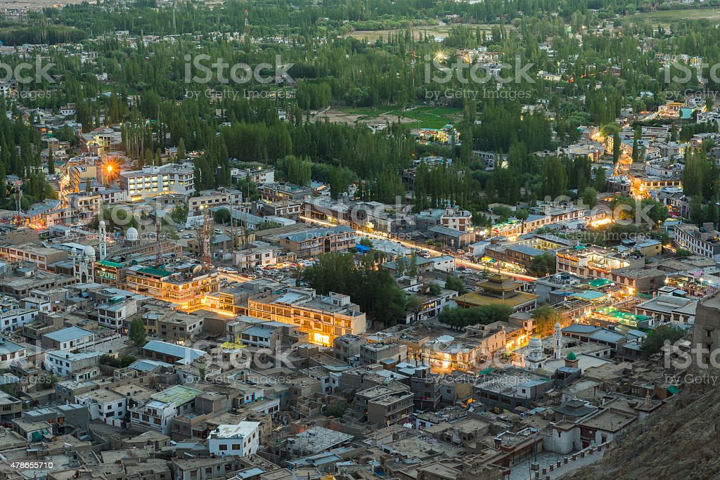 Views of Leh city from the top. stock photo