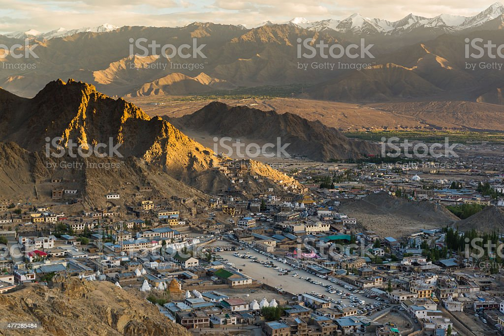 Views of Leh city sunset from the top. stock photo
