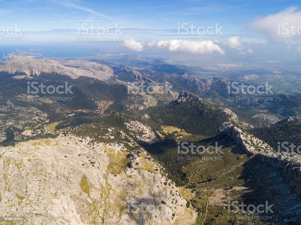 Views of Mountains and Landscapes in the Serra de Tramuntana with Snow, in North Mallorca / Majorca stock photo