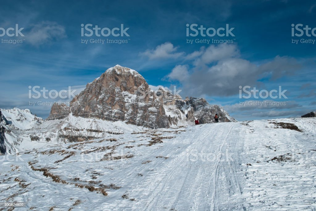 Views of the 5 Torri, in the Cortina D'Ampezzo Dolomites stock photo