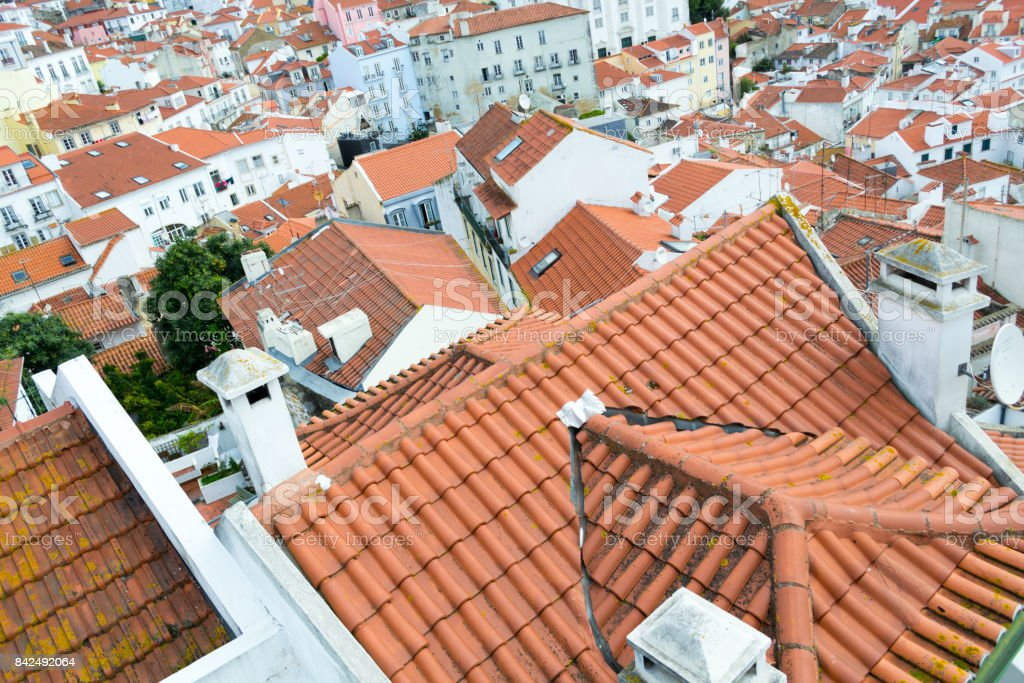 Views of the alfama from the Miradouro de Santa Luzia (Lisbon, Portugal) stock photo
