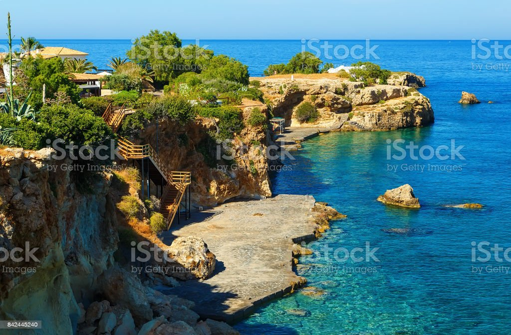 Views of the beautiful nature of the shore and bay near Heraklion, Crete, Greece. stock photo