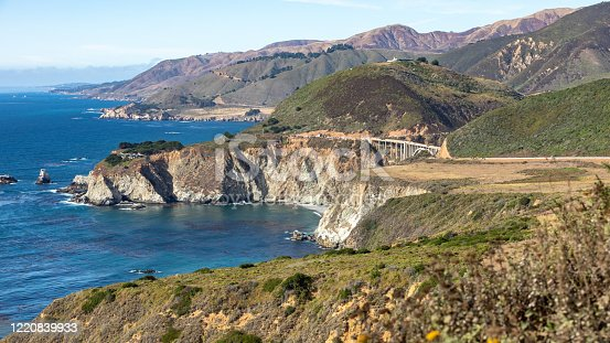 California coast line along the Pacific Ocean. A Beautiful View of the California Coastline along State Road 1 -USA. Panoramic scenes.