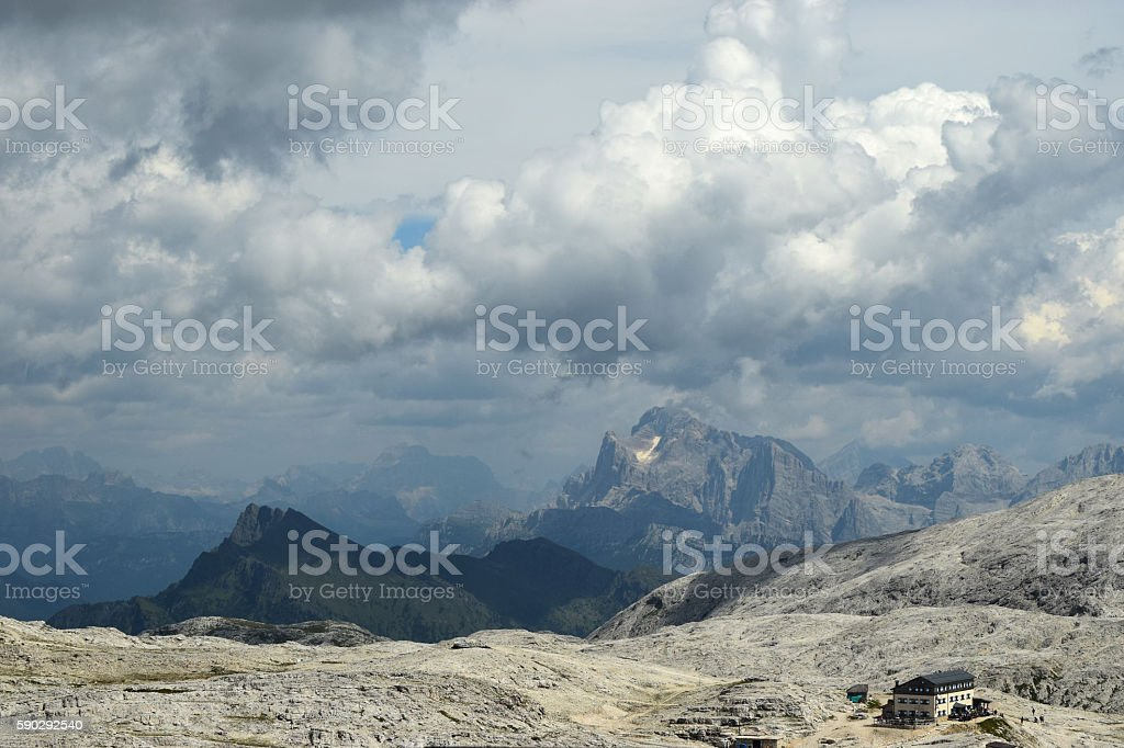 views of the Dolomites Alps  Mountains  with a climbing station royaltyfri bildbanksbilder