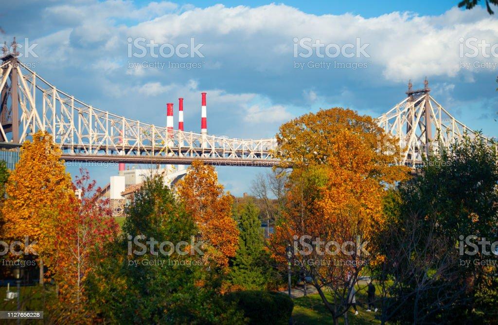 Views of the Ed Koch Bridge Manhattan with Fall Foliage foto stock royalty-free