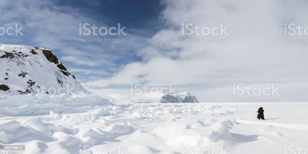 Views of the frozen fjords and mountains of Baffin Island, Canada stock photo
