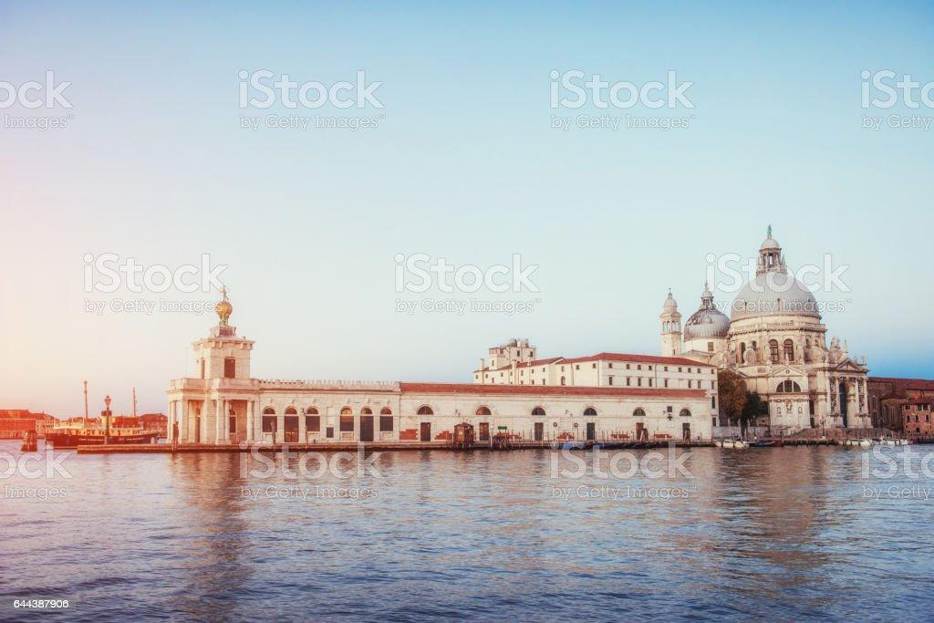 views of the Grand Canal and the Basilica Santa Maria stock photo