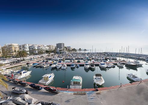 Marbella, Spain. 1 August 2018 ,Views of the marbella marina