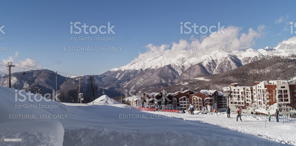 Views of the Olympic village Rosa Khutor - Olympic Winter games 2014. stock photo