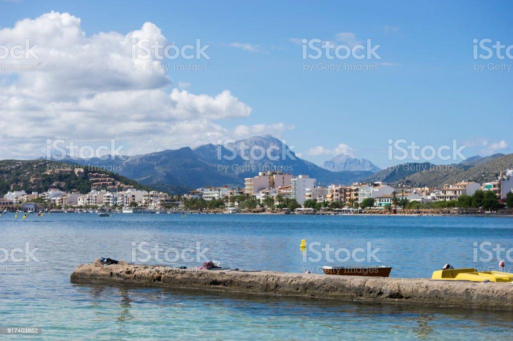 Views of the Sea and Town of Port Pollenca / Pollensa, in North Mallorca / Majorca stock photo