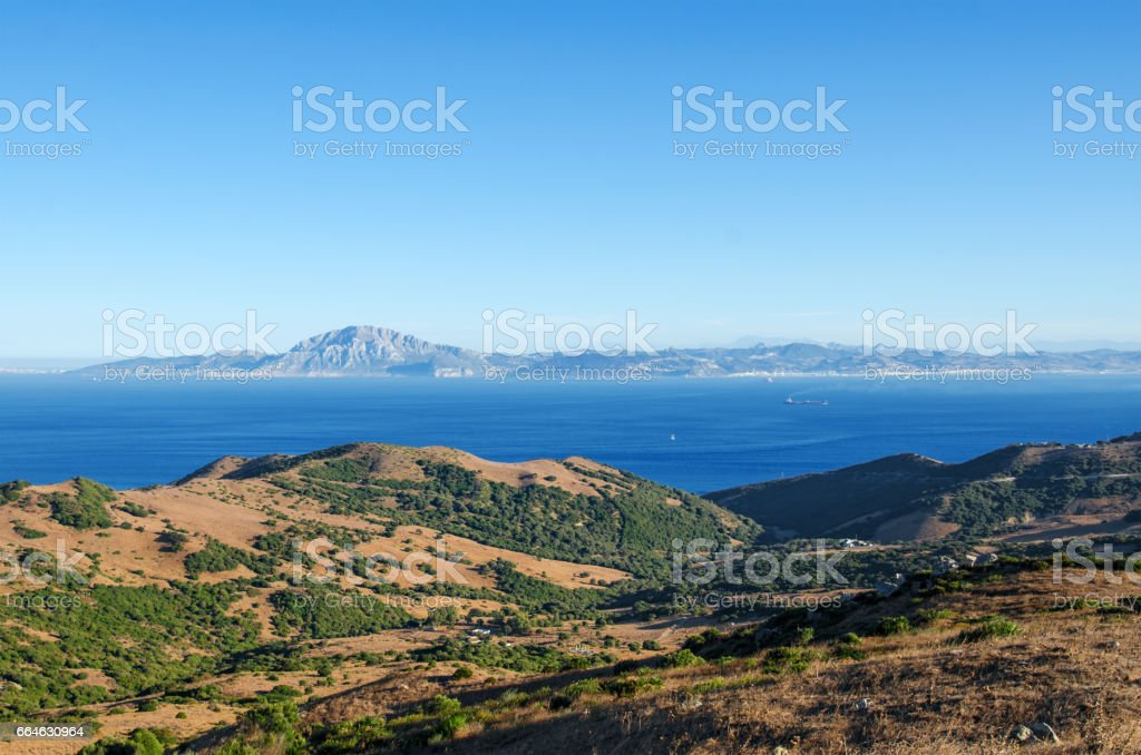 Views of the Strait of Gibraltar, the mountain Jebel Musa, Morocco from the Spanish side stock photo