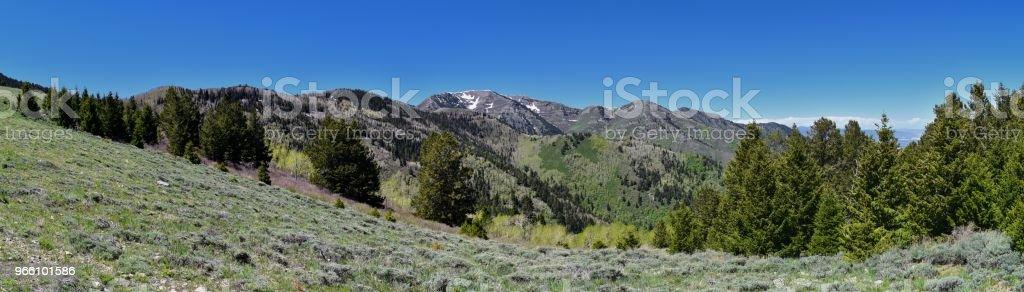 Ansichten der Tooele aus dem Oquirrh Gebirge entlang der Wasatch Front Rocky Mountains, durch Kennecott Rio Tinto Copper Mine suchen in Tooele durch den großen Salzsee im Frühjahr. Utah, USA. - Lizenzfrei Alpine - Utah Stock-Foto