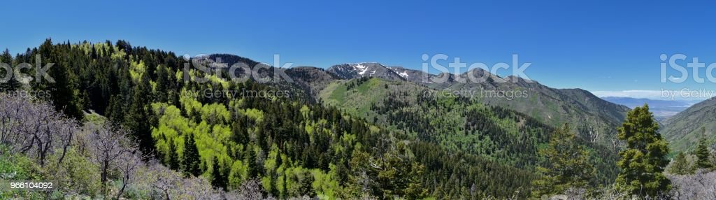 Views of Tooele from the Oquirrh Mountains along the Wasatch Front Rocky Mountains, by Kennecott Rio Tinto Copper mine, Looking into Tooele by the Great Salt Lake in spring. Utah, USA. - Royalty-free Alpine - Utah Stock Photo