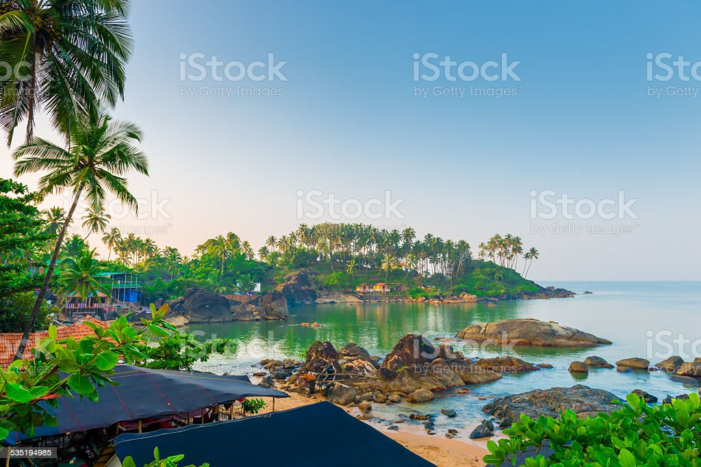 views of tropical lagoon from the mountain stock photo
