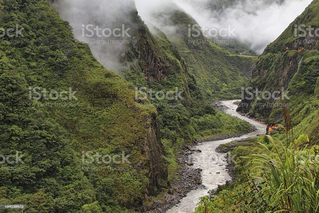 Views of winding Pastaza river and sheer mountains royalty-free stock photo
