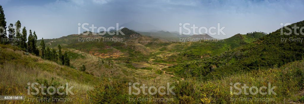 Views on a hiking trail near Erjos on Tenerife island in Spain stock photo