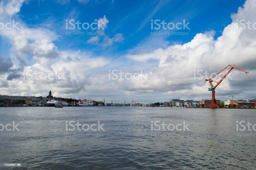 Views on the water from the streets of Gothenburg, Sweden stock photo