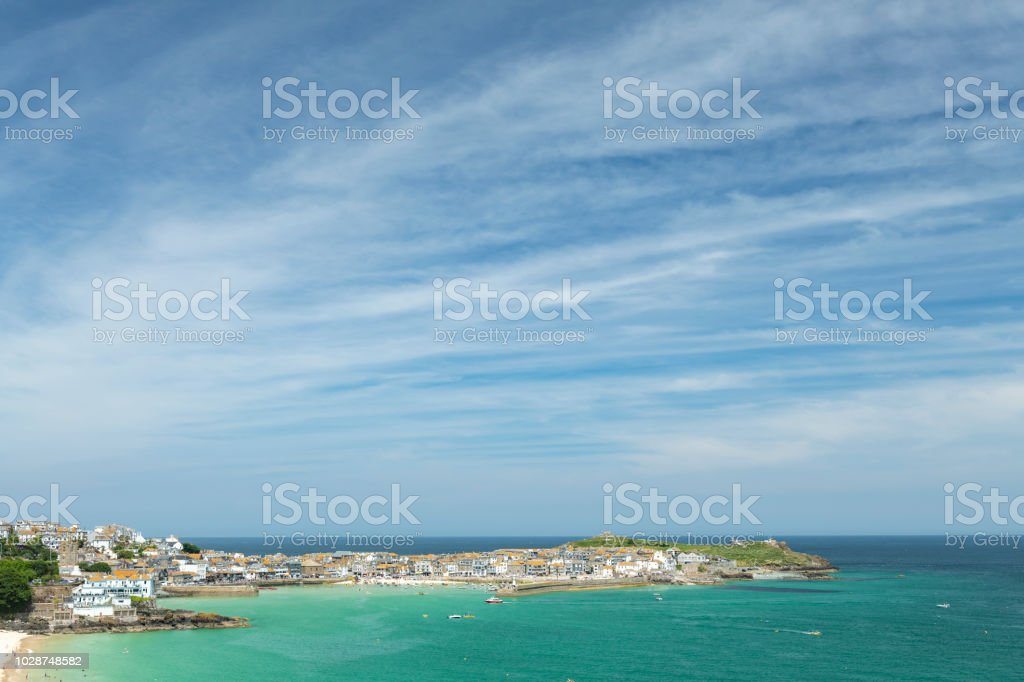 Views over St. Ives, Cornwall on a sunny June day. stock photo