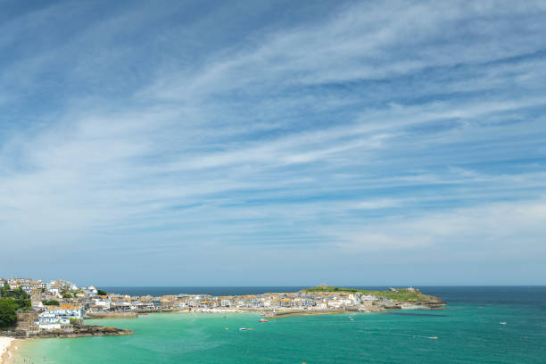 views over st. ives, cornwall on a sunny june day. - cornwall stock photos and pictures