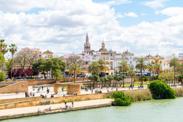 views to Triana neighborhood at Seville, Spain panoramic views of train neighborhood in seville seville stock pictures, royalty-free photos & images