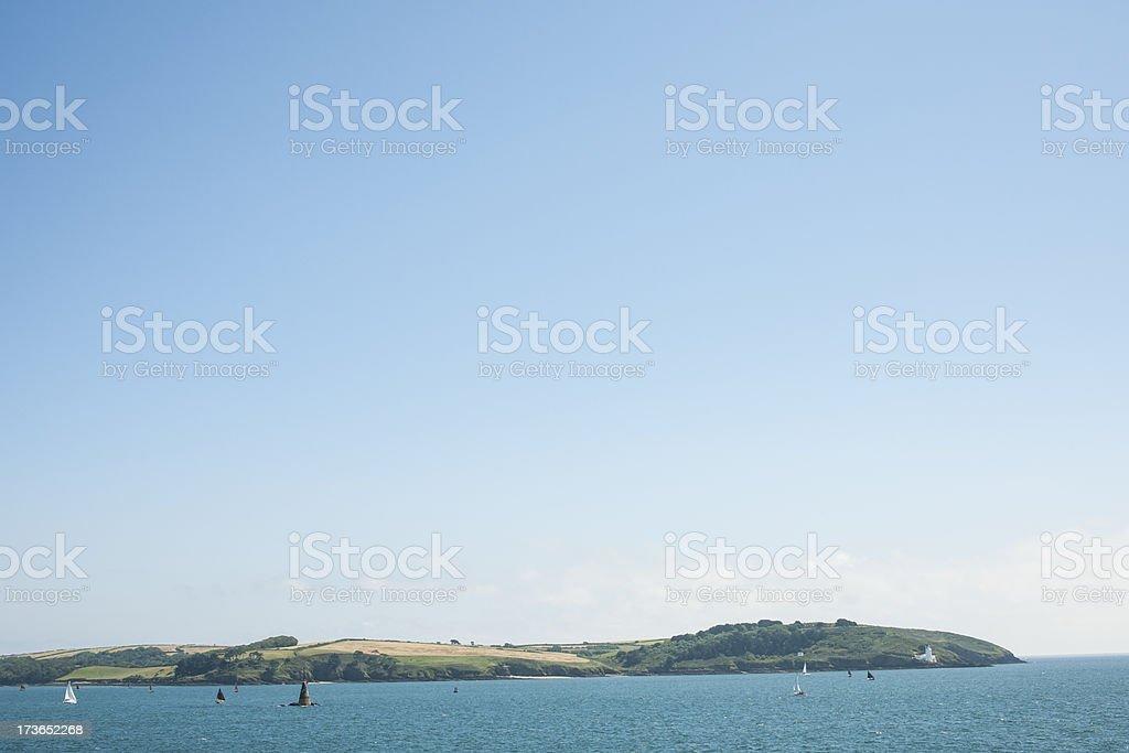 Views towards Trefusis Point Falmouth, Cornwall stock photo
