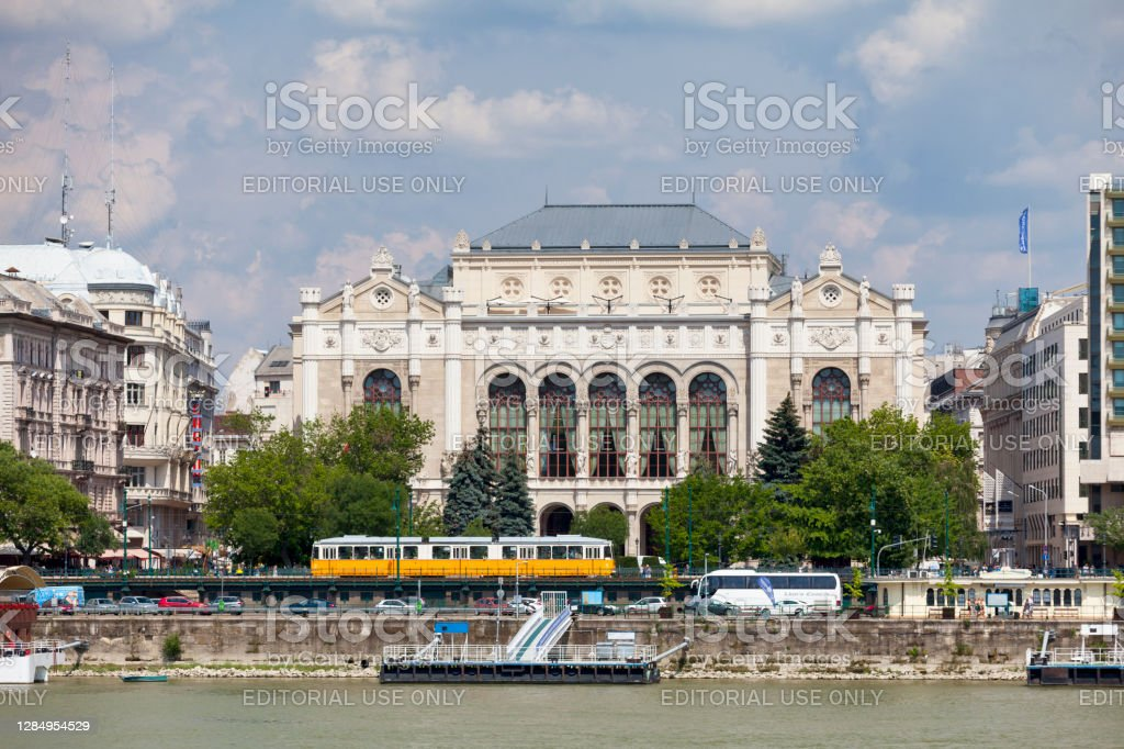 Vigadó Concert Hall in Budapest Budapest, Hungary - June 21 2018: The Vigadó Concert Hall is a vast concert hall built alongside the Danube in 1865 with friezes, statues & chandeliers with 2 halls for concerts & art. Architecture Stock Photo