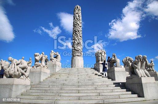 Oslo, Norway - August 18, 2016: Many tourist walk Vigeland Sculptures Park in the popular Vigeland park ( Frogner Park ), designed by Gustav Vigeland in Oslo, Norway