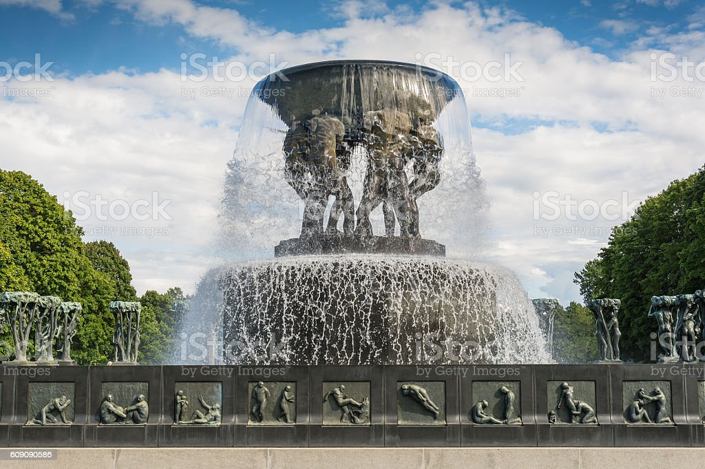 Vigeland Sculpture in Frogner Park in Oslo stock photo