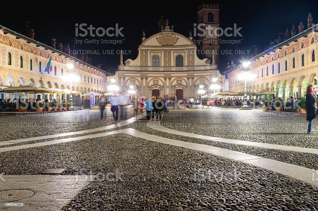 Vigevano by-night. Color image stock photo