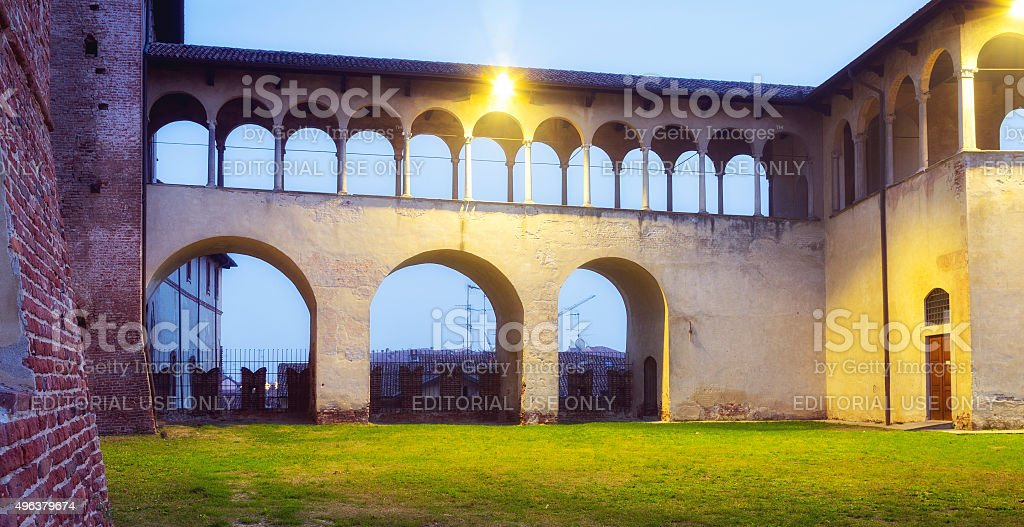 Vigevano castle, night view. Color image stock photo