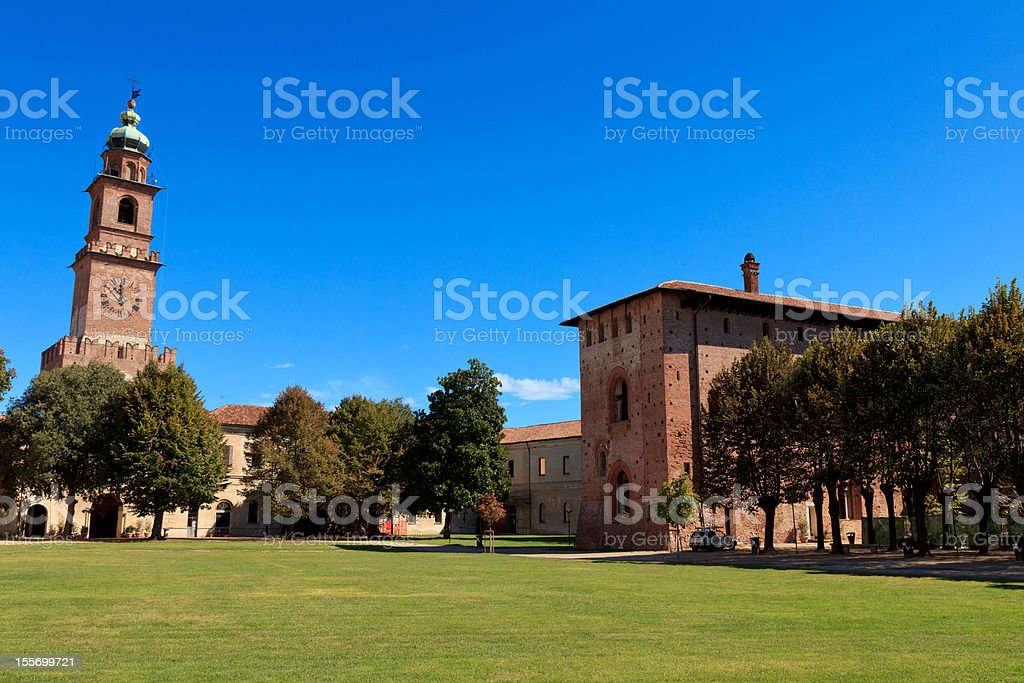 Vigevano castle's courtyard with tower stock photo