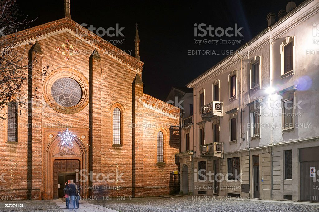 Vigevano night christmas time view. Color image stock photo
