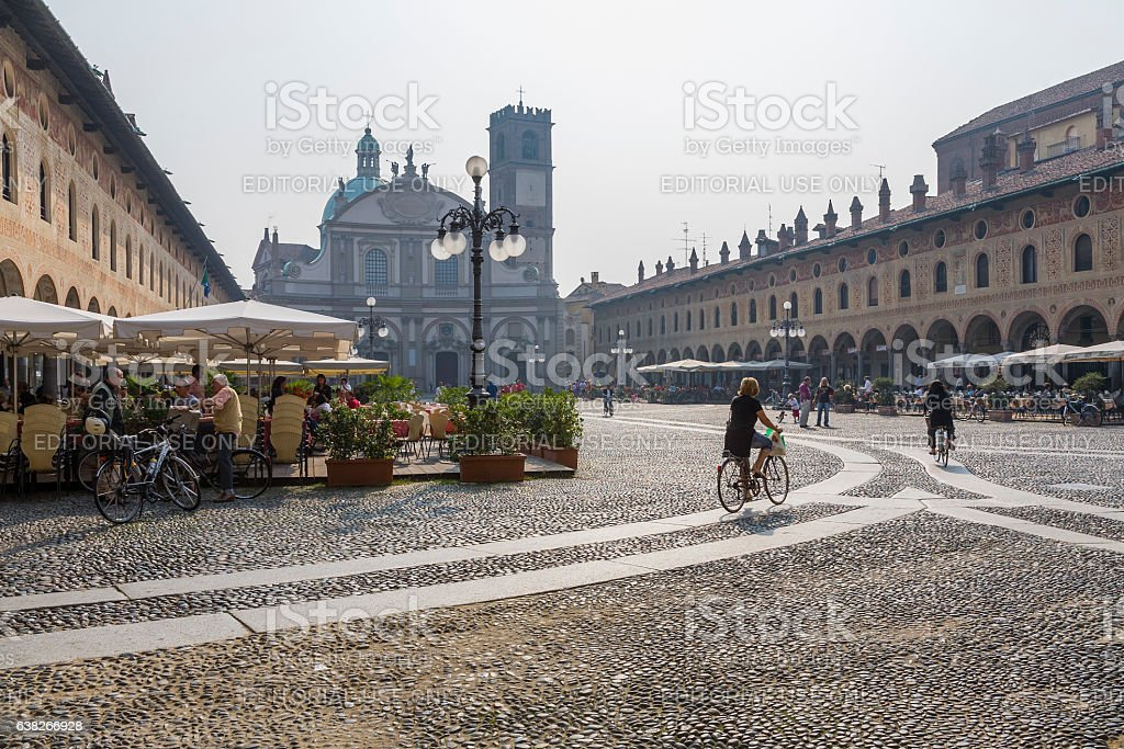 Vigevano (Italy): Piazza Ducale stock photo
