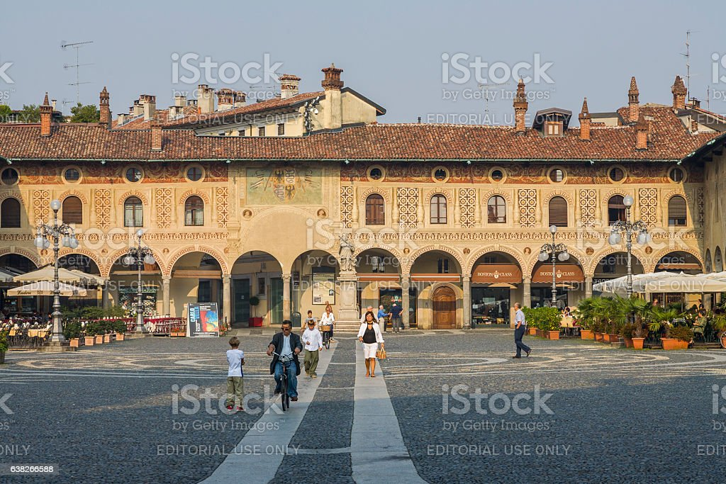 Vigevano (Italy): Piazza Ducale with people walking stock photo