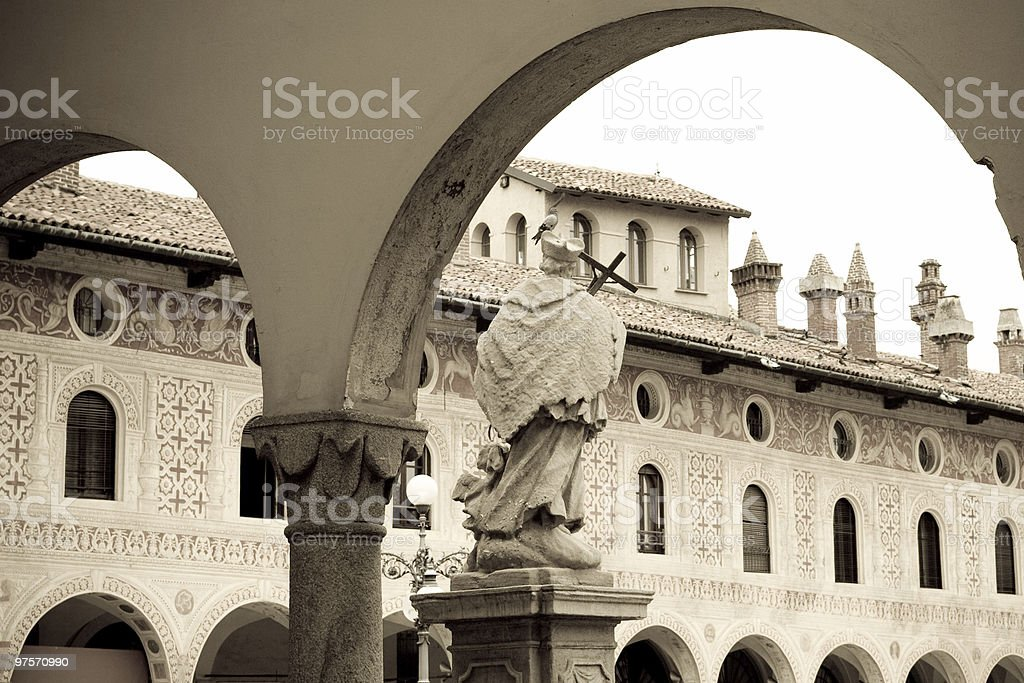 Vigevano's Square, Sepia Toned Image royalty-free stock photo