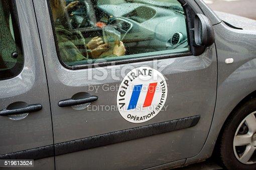 istock Vigipirate van surveilling protest in France 519613524