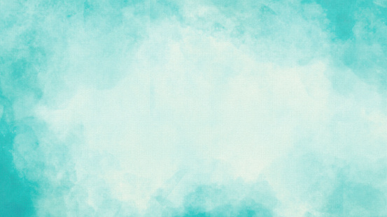 Vignette Watercolor Texture Background - Hand-Painted Pastel Aqua Brush Strokes with Copy Space