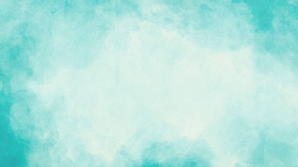 Vignette Watercolor Texture Background - Hand-Painted Aqua Brush Strokes Vignette Watercolor Texture Background - Hand-Painted Pastel Aqua Brush Strokes with Copy Space turquoise colored stock pictures, royalty-free photos & images