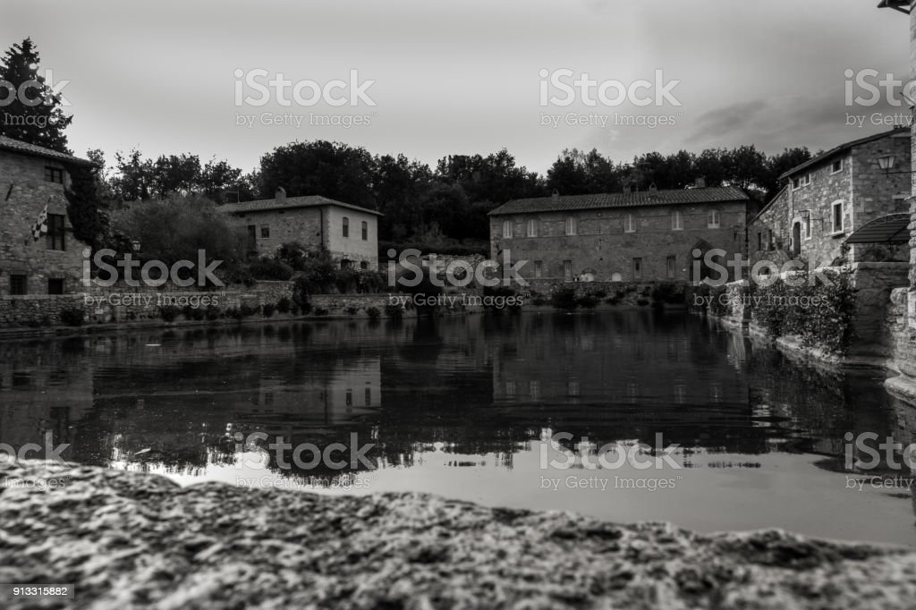 Bagno Vignoni Main Spa Pool stock photo