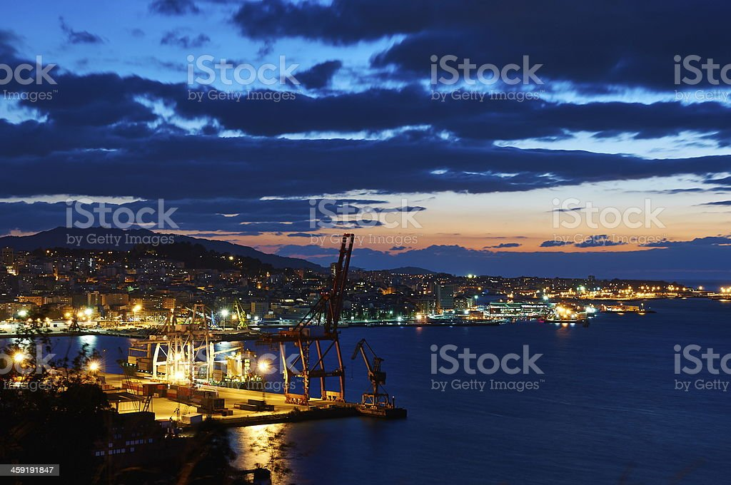 Vigo at night stock photo