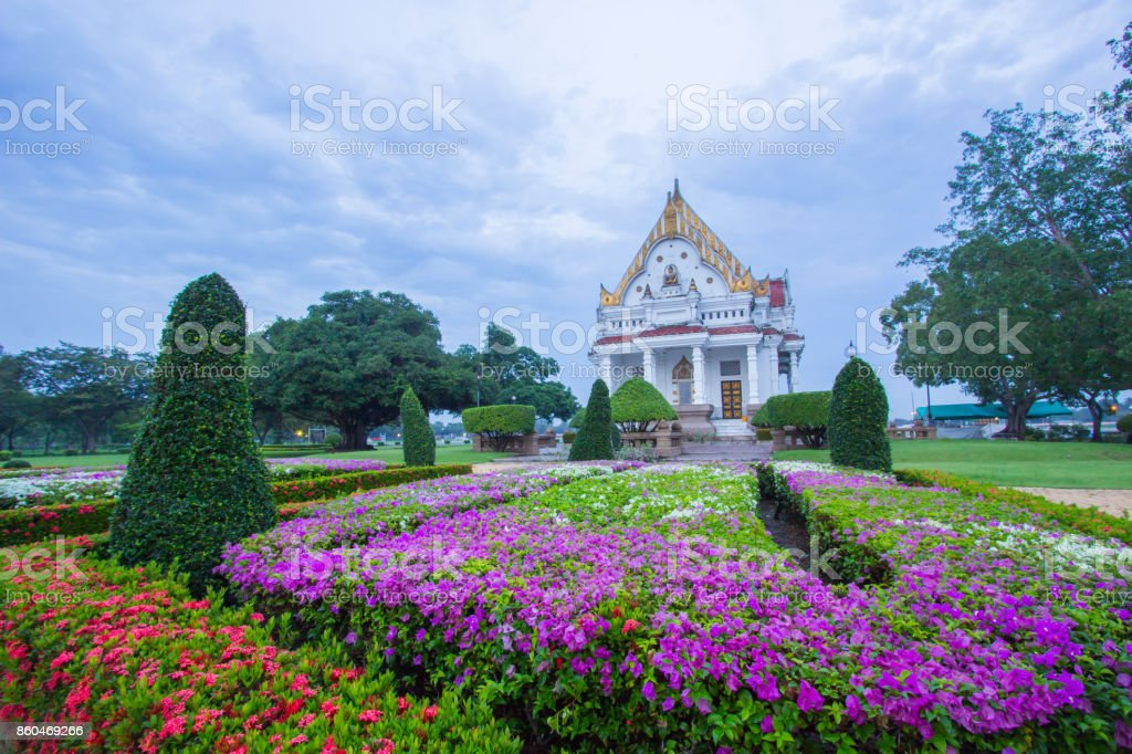 Vihara of Phutthamonthon in the evening,Nakhon Pathom,Thailand. stock photo