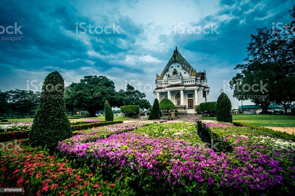 Vihara of Phutthamonthon in the evening.Phutthamonthon is a Buddhist park in Phutthamonthon district,Nakhon Pathom Province of Thailand. stock photo