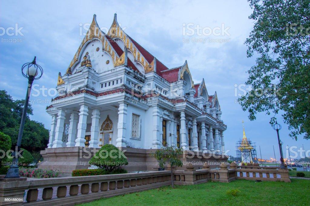 Vihara of Phutthamonthon&Replica of Royal Crematorium  for King Rama9 stock photo
