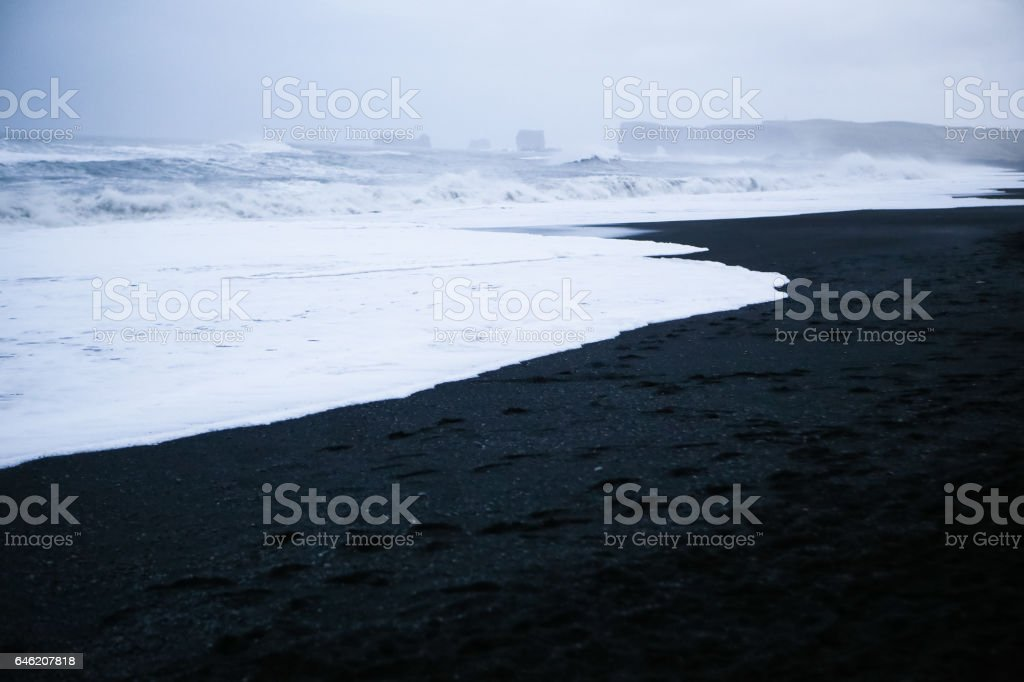 Vik, Iceland- Beautiful Black Sand Beaches and Atlantic Ocean Waves stock photo