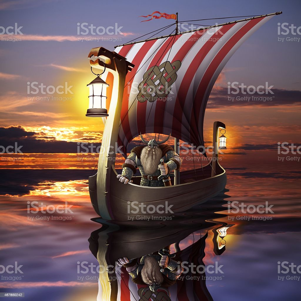 Viking boat in the sea stock photo